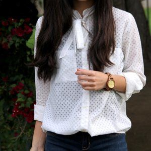 madewell | white bow neck swiss dotted blouse